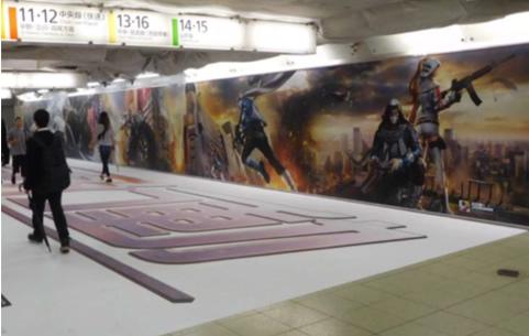 壁と床を広告シートでラッピング